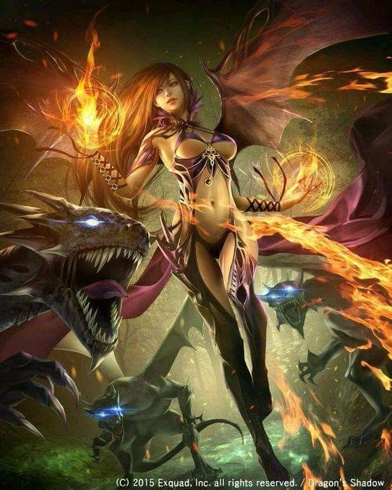 Fire Dragon Mage Dark Fantasy Art Fantasy Girl Character Art