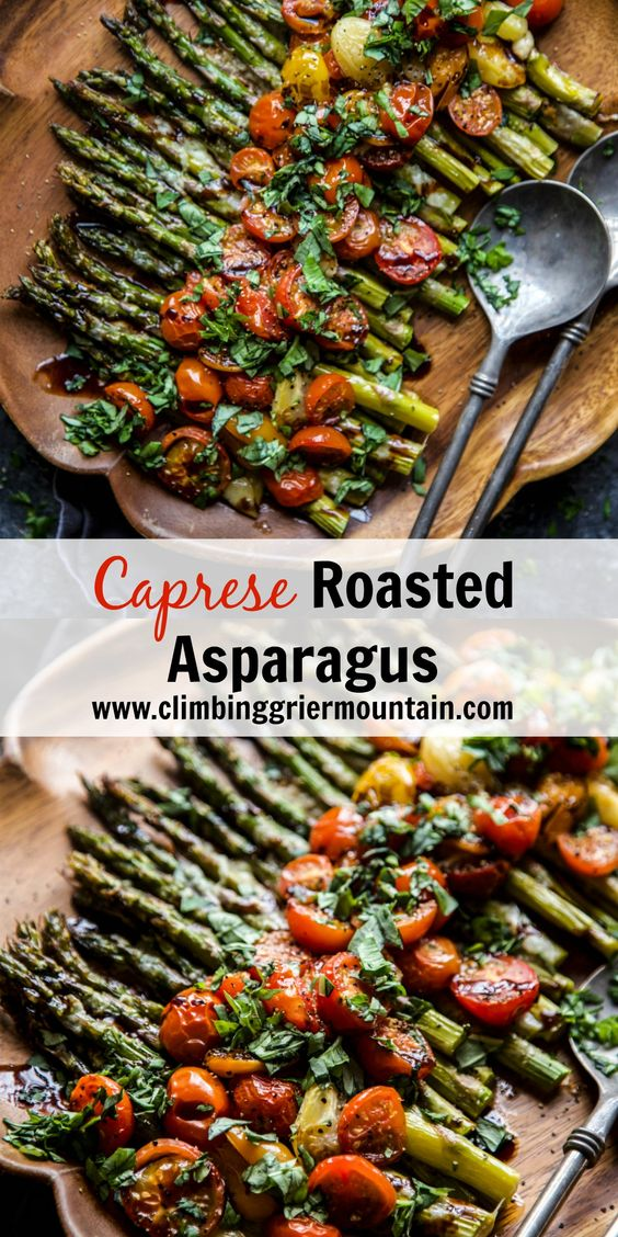 Caprese Roasted Asparagus is a lovely spring dish perfect for Easter Dinner! Roasted asparagus topped with mozzarella, fresh tomatoes and a balsamic glaze. This will definitely be a hit!