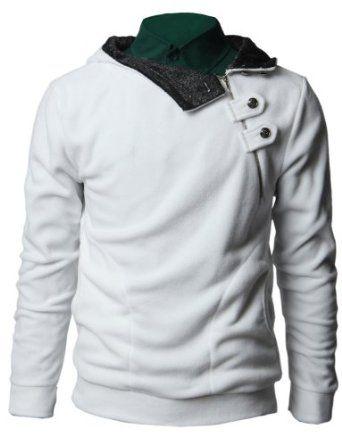 Doublju Men's Zip up Fleece Jacket in 3 Styles WHITE L (PFSH24 ...