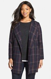 Sejour Plaid Zip Front Topper (Plus Size)