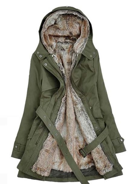 Green Winter Jacket With Faux Fur L | Jackets for women, Cloaks ...