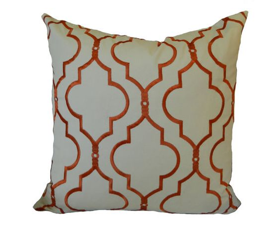 18''x18'' Pillow Cover Oriental Horizon in Tangerine