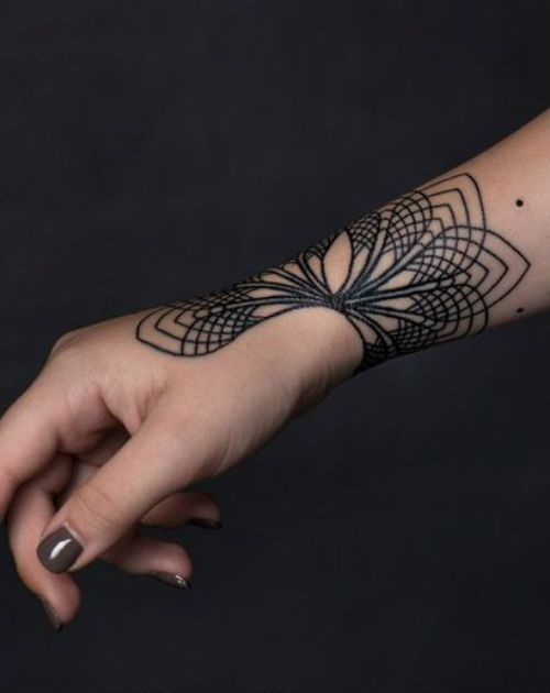 11 Of The Divine Geometric Tattoo Design On Wrist For Girls Weekly Styles 11 Of The Divine In 2020 Wrist Hand Tattoo Geometric Tribal Tattoo Tribal Wrist Tattoos