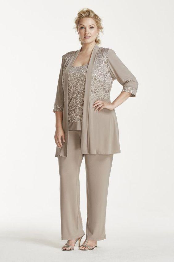 Plus Size Mock Two Piece Lace and Jersey Pant Suit - Mocha ...