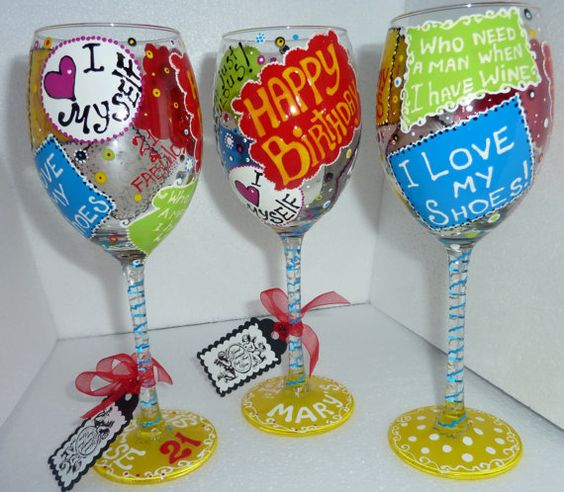 Personalized Hand Painted Fun Wine Glass goblet by AlenaShop, $20.99