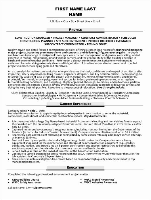 Construction Project Manager Resume New Top Construction Resume Templates Samples