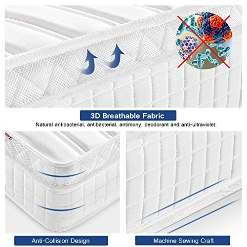 Multi-Functional 9-Zone Orthopaedic Mattress with Memory Foam Life 5FT UK King Size Pocket Sprung Mattress with Tencel Fabric Ej 10.6-Inch Deep