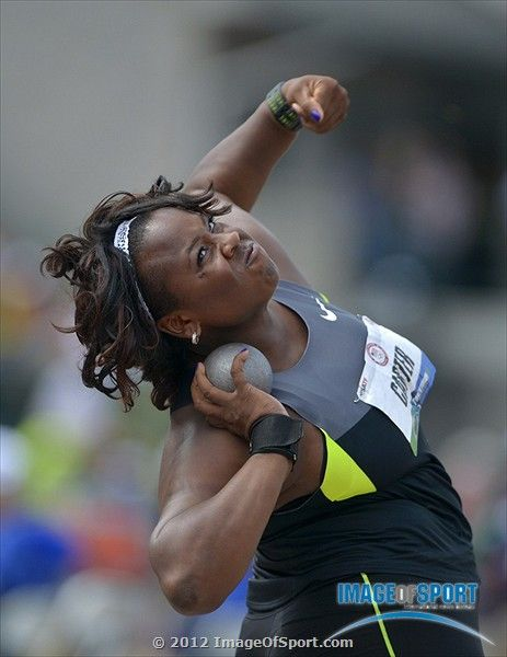 Michelle Carter places second in the womens shot put at 60-11 1/4 (18.57m) in the womens shot put during the 2012 U.S. Olympic Team Trials at Hayward Field