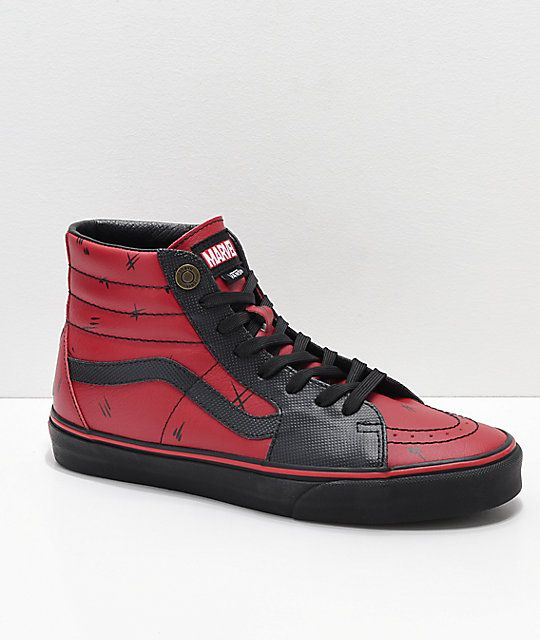 Vans x Marvel Sk8 Hi Deadpool Red & Black Shoes | Marvel