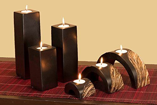 Green Floral Crafts Set Of 6 Black Gold Wave Mango Wood Candle Holders Read More At The Image Link T Wood Candle Holders Candle Holders Candle Holder Set