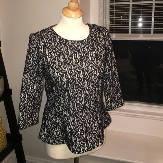 JCrew peplum top size small JCrew peplum tops size small. Black lace with a white background. Zipper back. Super cute, gently worn, great condition. J. Crew Tops Blouses