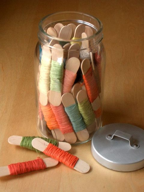 Alternative embroidery thread storage, but doesn't seem as simple as a clothes peg since I'd have to tuck in the end of the thread and then find it again instead of just clipping it.: