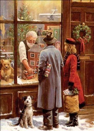 Christmas shop window scene