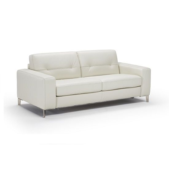 The Margit Sleeper Available In White Leather Is A Sophisticated And Well Designed Sofa Sleeper That Is Contemp Sleep Sofa Queen Mattress Size Storage Spaces