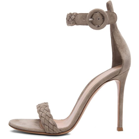 Gianvito Rossi Braided Ankle Strap Suede Heels ($602) ❤ liked on Polyvore featuring shoes, pumps, heels, footwear, ankle strap pumps, ankle wrap shoes, heel pump, woven shoes and gianvito rossi pumps