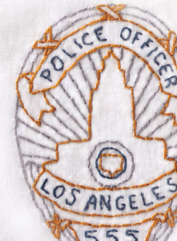 LAPD Badge Hand Embroidery Pattern by ravenfrog on Etsy