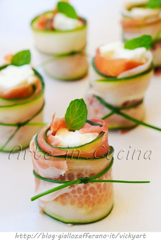 Involtini di cetriolo prosciutto e gorgonzola vickyart arte in cucina