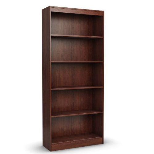 Contemporary 5 Shelf Bookcase Bookshelf In Royal Cherry Wood Finish 5 Shelf Bookcase Cherry Bookcase Bookcase