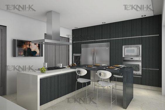 La cocina presenta una combinaci n sobria entre colores y - Cocina para dos ...