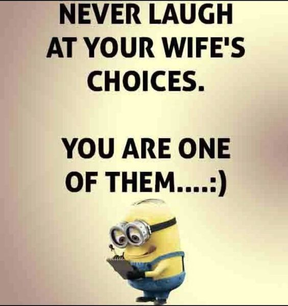 Never Laugh At Your Wife S Choice You Are One Of Them Funny Quotes Funny Minion Quotes Short Funny Quotes