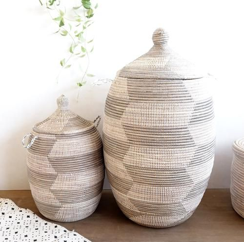 Set Of 2 Gray White Chevron Laundry Baskets Alibaba Baskets In 2020 Home Decor Items Online Grey Laundry Basket Laundry Basket