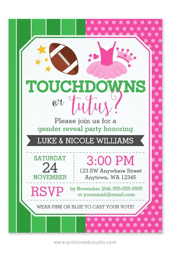 Touchdowns or tutus gender reveal party invitation. Design features a football and cute pink tutu illustration.