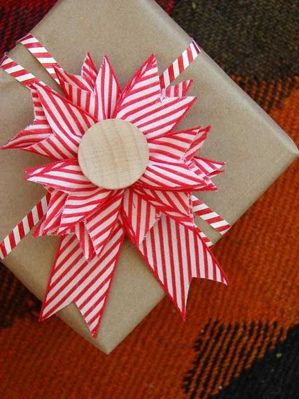 Gift wrapping-red and white bow