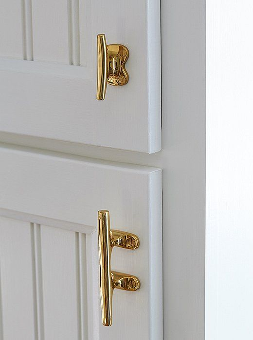 Surprise—these door handles are actually brass boat cleats, repurposed for everyday function. They're just one more example of how the designer subtly nodded to Nantucket's rich heritage.