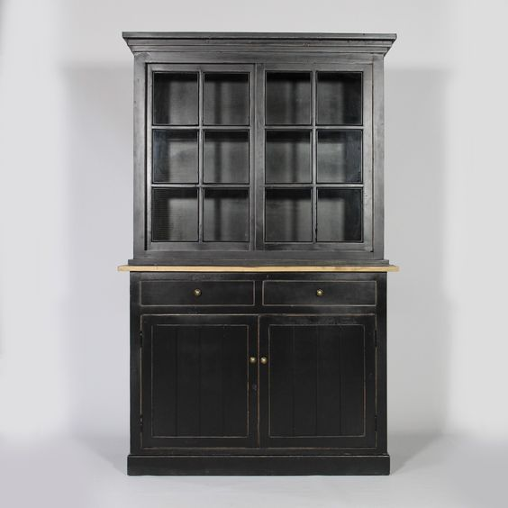 buffet vaisselier 2 corps bari noir 999 50. Black Bedroom Furniture Sets. Home Design Ideas