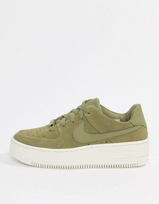 Nike | Nike Khaki Air Force 1 Sage Sneakers | Nike air force ones ...