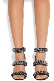 Chain-embellished sandals in black leather