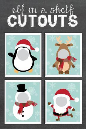Free Elf on the Shelf Cutout Printables #Christmas