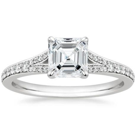 18K White Gold Duet Diamond Ring, top view