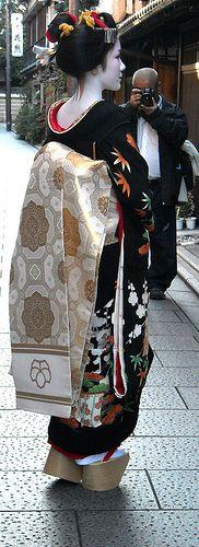 Maiko Koyoshi on the day of her debut, Kyoto, Japan--beautiful kimono and obi