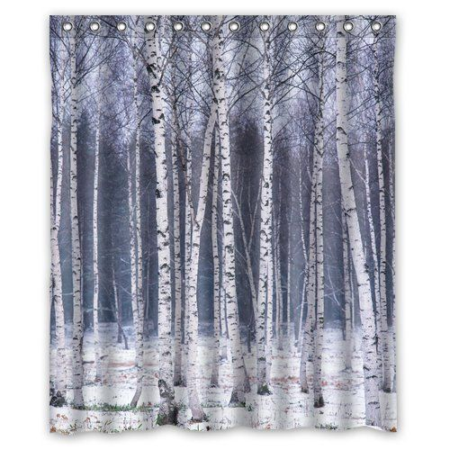 Decor forests birches tree forest showers decor bathroom fabrics woods