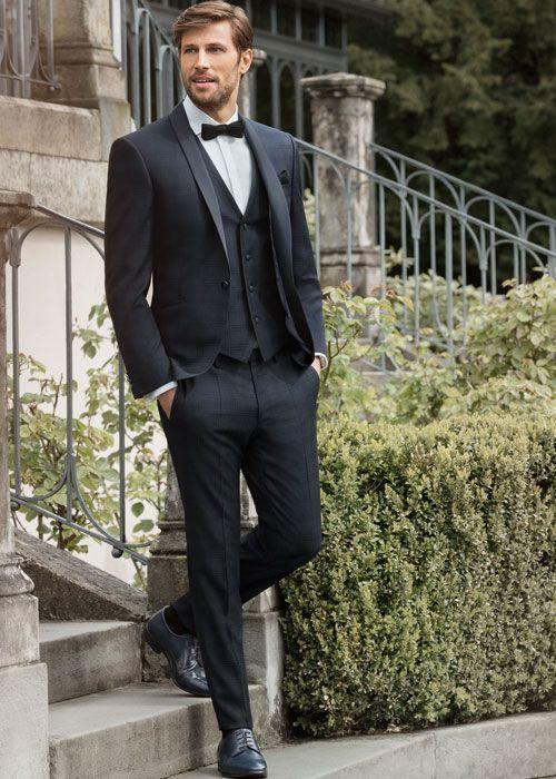 Schicker Dunkler Anzug Mit Karo Muster Anzug Hochzeit Hochzeitsanzug Trauzeuge Anzug