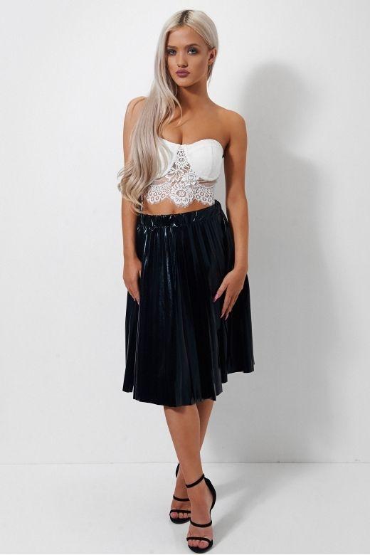 Stellar Black Satin Midi Skirt | • metallics | Pinterest ...