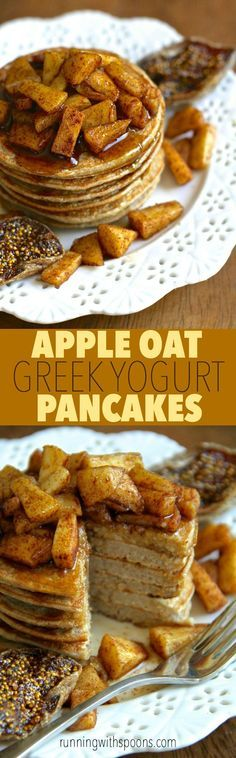 Apple Oat Greek Yogurt Pancakes -- lighty, fluffy, and gluten-free. A quick and easy breakfast that packs over 20g of protein!    runningwithspoons.com #pancakes #breakfast #apple