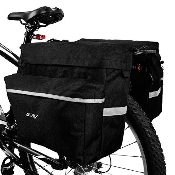 Bv Bike Bag Bicycle Panniers With Adjustable Hooks Carrying Handle Reflective Trim And Large Pockets Review Bicycle Panniers Bike Bag Mountain Bike Shoes