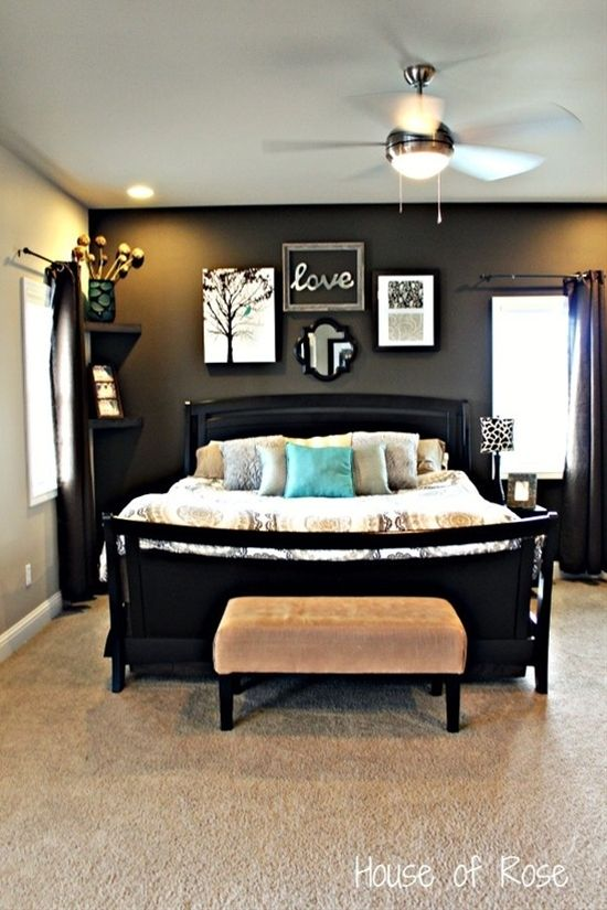 The bed and much of the room here is actually more masculine (or at least it could be). With a few little tweaks this can become a wonderful room idea for someone who wants a little less frill.