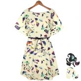 Korean Women's Ladies Stylish Bird Printing Loose Round Collar Chiffon Dress