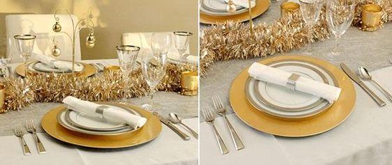 tischdeko weihnachten goldene girlande teller serviettenring