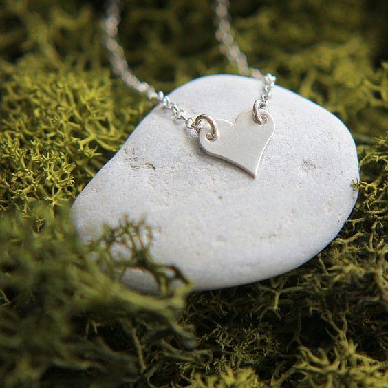 Silver Heart Necklace Sideways Heart Necklace by JewelleryJKW