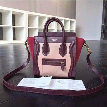celine luggage bag online shop - C��line Nano Luggage Tote Burgundy Tricolor Cross Body Bag | Cross ...