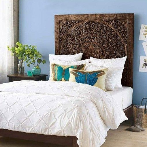 low priced d91f1 dcb21 Lotus Carving Wall Art Bed Headboard   apartment   Home ...