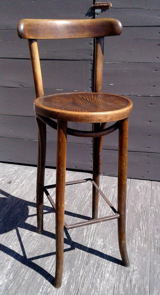 Antique Bent Wood Tall Bar Stool With Back Rest 1920 Era Bar
