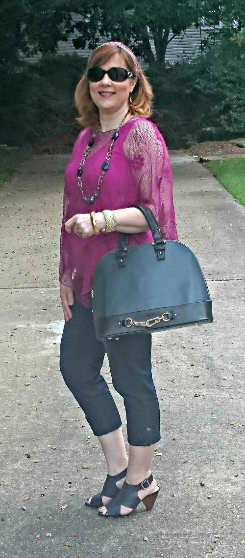 Diane Gilman jean capris.  Goodwill find poncho, Over 40 Fashion blogger: