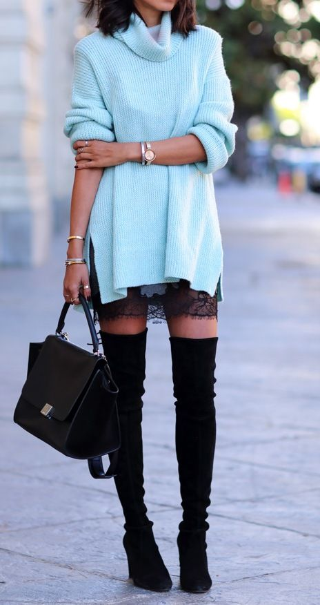 Blue sweater with black lace