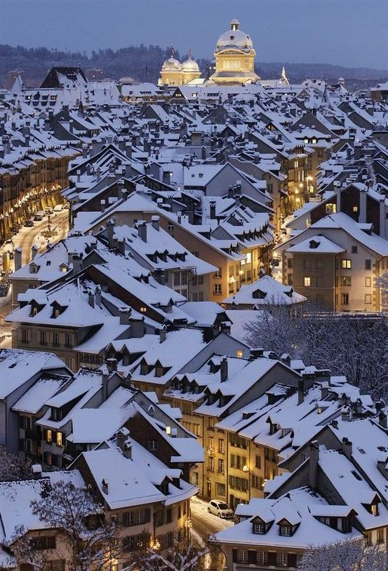 snow covered roof tops and lovely glowing lights