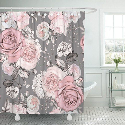 Emvency Shower Curtain Pink Flowers And Leaves On Gray Wa With